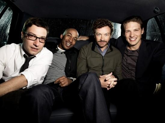 Danny-Masterson-Adam-Busch-James-Lesure-and-Michael-Cassidy-in-MEN-AT-WORK-Season-1-Promo
